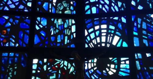 Stained glass window of All Faiths Center Florida Tech