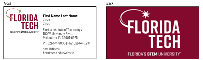 University business card template