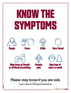 Poster showing CDC guidance regarding COVID symptoms