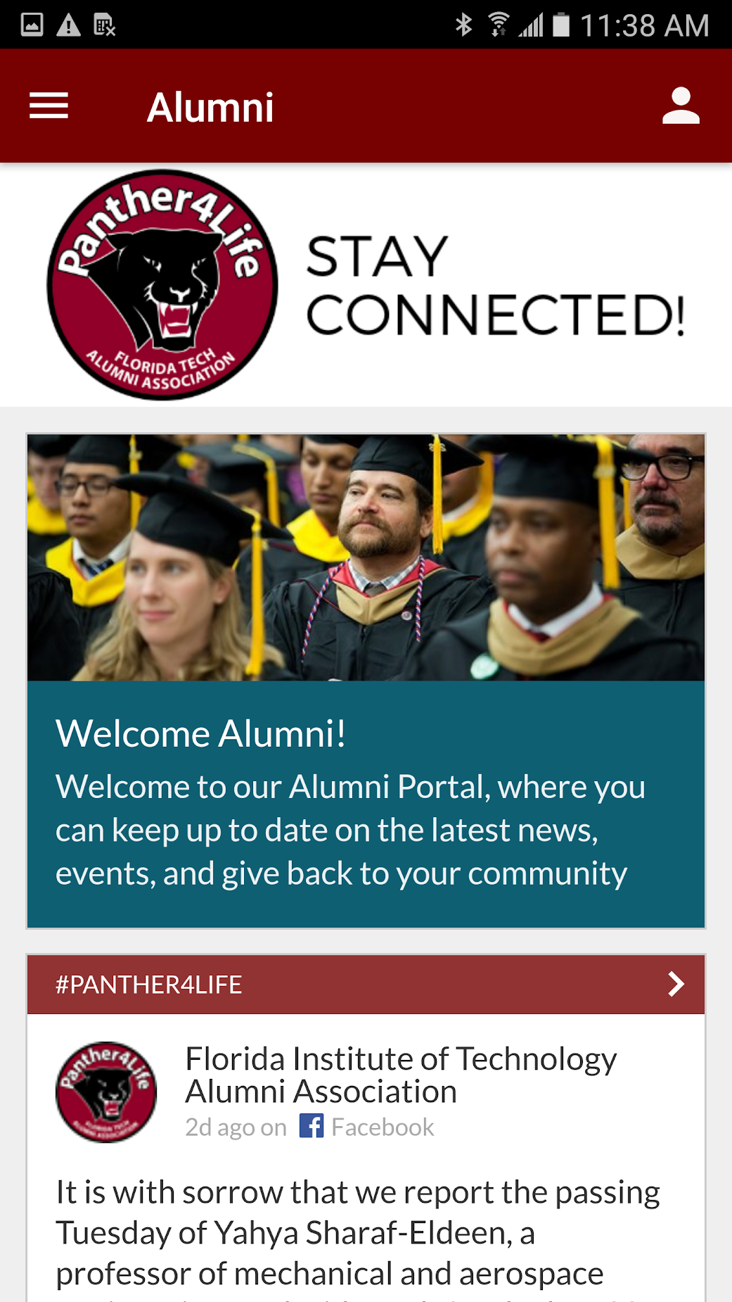 Alumni Screen on Florida Tech Mobile