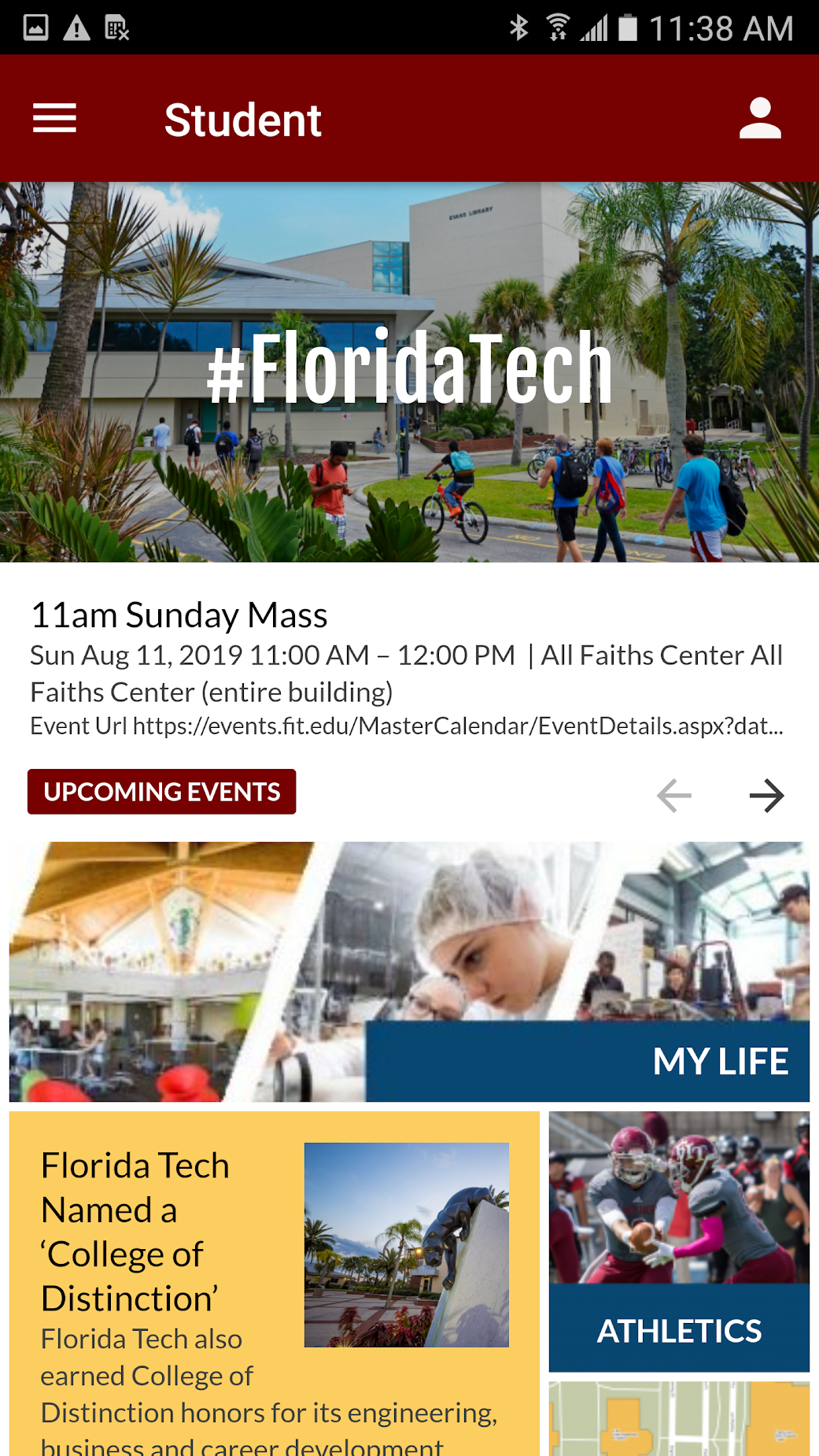 Student Home Screen on Florida Tech Mobile
