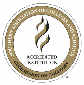 Official SACSCOC stamp indicating accreditation by the Southern Association of Colleges and Schools Commission on Colleges (SACSCOC).